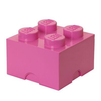 Lego Storage Opbevaringsboks - 4 Knopper - 25x25x18 - Pink - Børnetøj - Lego