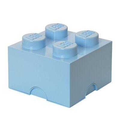 Lego Storage Opbevaringsboks - 4 Knopper - 25x25x18 - Lyseblå - Børnetøj - Lego