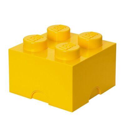 Lego Storage Opbevaringsboks - 4 Knopper - 25x25x18 - Gul - Børnetøj - Lego