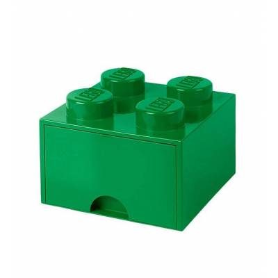 Lego Storage Opbevaringsskuffe - 4 Knopper - 25 cm - Grøn - Børnetøj - Lego