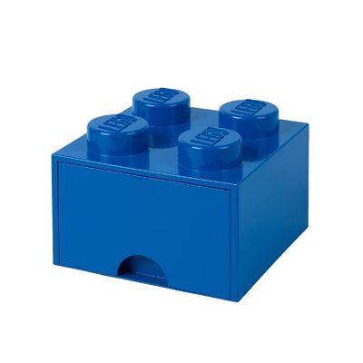 Lego Storage Opbevaringsskuffe - 4 Knopper - 25 cm - Blå - Børnetøj - Lego
