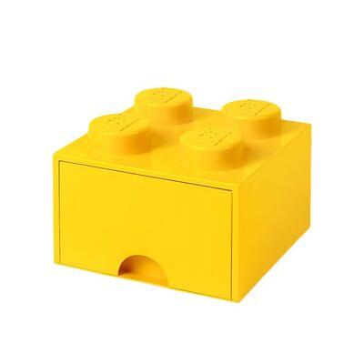 Lego Storage Opbevaringsskuffe - 4 Knopper - 25x25x18 - Gul - Børnetøj - Lego