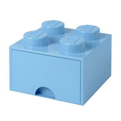 Lego Storage Opbevaringsskuffe - 4 Knopper - 25 cm - Lyseblå - Børnetøj - Lego