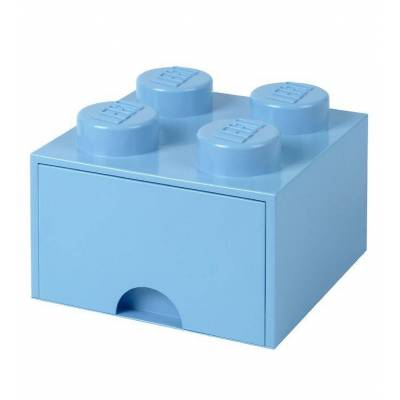 Lego Storage Opbevaringsskuffe - 4 Knopper - 25x25x18 - Lyseblå - Børnetøj - Lego