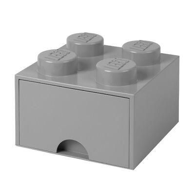 Lego Storage Opbevaringsskuffe - 4 Knopper - 25x25x18 - Grå - Børnetøj - Lego