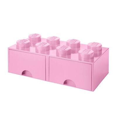 Lego Storage Opbevaringsskuffe - 8 Knopper - 50 cm - Lys Lilla - Børnetøj - Lego