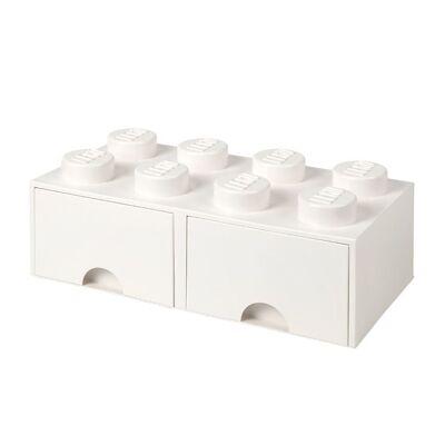 Lego Storage Opbevaringsskuffe - 8 Knopper - 50x25x18 - Hvid - Børnetøj - Lego