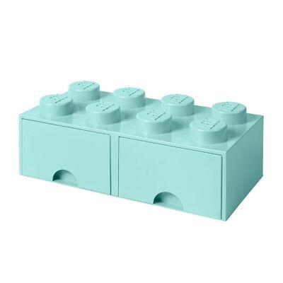 Lego Storage Opbevaringsskuffe - 8 Knopper - 50 cm - Aquablå - Børnetøj - Lego