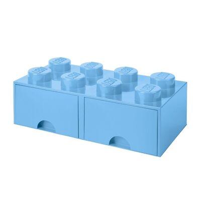 Lego Storage Opbevaringsskuffe - 8 Knopper - 50x25x18 - Lyseblå - Børnetøj - Lego