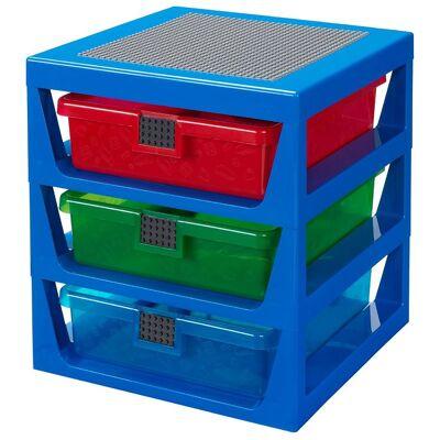 Lego Storage Opbevaring m. 3 Skuffer - 34x32x38 - Blå - Børnetøj - Lego