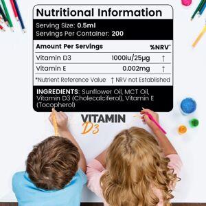 Flydende Vitamin D3 til Børn - For Dine Børns Velvære - 100 ml
