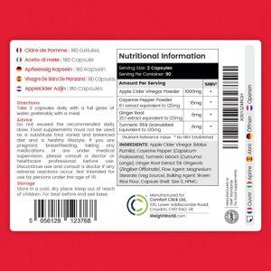Æblecidereddike - 1027 mg 180 kapsler - Æblecidereddike kur, der kan hjælpe med vægttab - Kosttilskud med ingefær, gurkemeje og cayennepeber - Vegansk