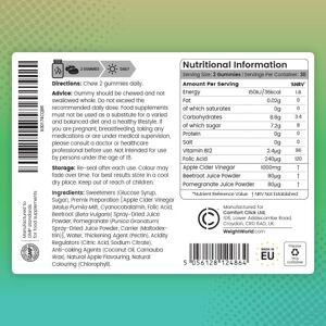 Æblecidereddike 1000mg 60 Vingummier - Naturligt kosttilskud til vægtkontrol - 1 måneds forbrug