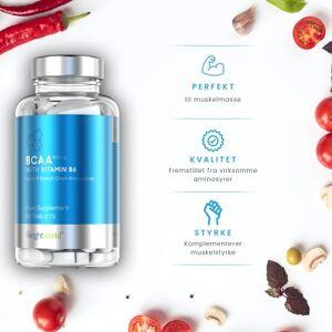 BCAA Piller 90 Stk - Aminosyrer BCAA Muskelopbyggende Kosttilskud - Få Større Muskler Med BCAA Pills - Høj BCAA Virkning 1000mg - Med Vitamin B6