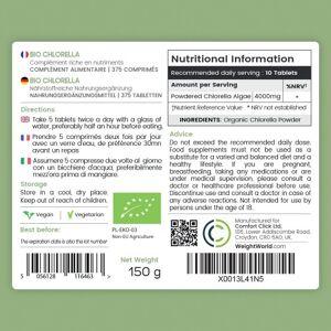 Bio Chlorella Alge Tabletter - vitaminer, mineraler og omega-3 - Rent og naturlige Alge Kosttilskud - 100 % naturlige ingredienser