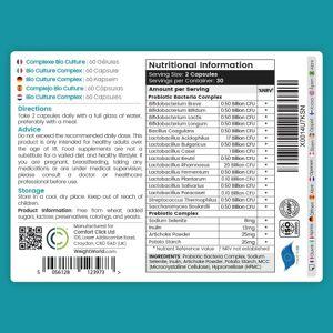 Bio Culture Complex - 60 Kapsler - Mave-venlig Vegansk Formular - 50 Billioner CFU - 16 Bakteriestammer