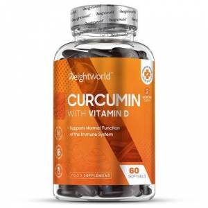 Curcumin med Vitamin D3 500mg 60 bløde kapsler - Naturlig tilskud til Immunsystem