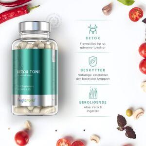 Detox Tone Udrensningskur - 60 kapsler til 30 dages forbrug - Med ingefær, chlorella, aloe vera og Bentonit - Vegansk