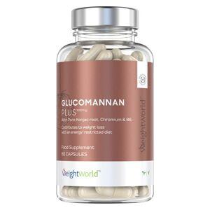 Glucomannan Plus 3000mg 60 Kapsler - Vægtkontrol kosttilskud Med Vitamin B6 - Vandopløseligt Fibertilskud