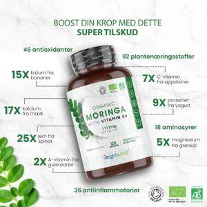 Organisk Moringa 1112mg 120 Kapsler - Beriget med Vitamin B6 - Fornyende naturligt tilskud