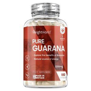 Pure Guarana Piller - 90 Guarana Kapsler - Superfood Tilskud For Energi & Motivation -  Markedsledende Styrke På 1200mg Per Kapsel - Vegansk
