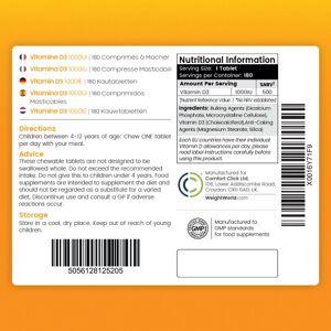 maxmedix Vitamin D3 Tyggetabletter - Muskel & Led vedligeholdelse - Naturligt immunitetsboost - Til børn på 4-12 år - 180 tabletter med hindbærsmag