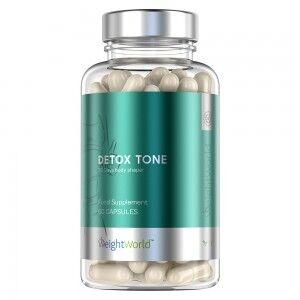 WeightWorld Detox Tone Udrensningskur - 60 kapsler til 30 dages forbrug - Med ingefær, chlorella, aloe vera og Bentonit - Vegansk