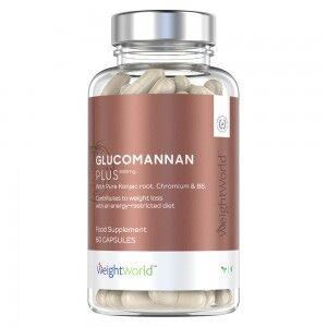 WeightWorld Glucomannan Plus 3000mg 60 Kapsler - Vægtkontrol kosttilskud Med Vitamin B6 - Vandopløseligt Fibertilskud