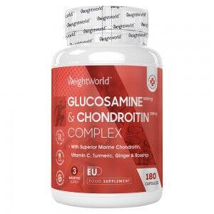 WeightWorld Glucosamine og Chondroitin 180 Kapsler - Naturligt Kosttilskud for Sunde Led