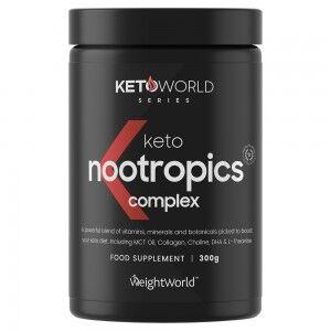 WeightWorld Keto Nootropics Complex 300g - Hjerne Booster Tilskud til ketogen diæt, understøtter hukommelse, fokus og hjernekraft, øger ketose, vegan-venlig