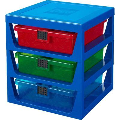 Lego Reol m. 3 Skuffer, Blå - Babymøbler - Lego