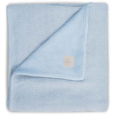 Jollein Plys Tæppe Soft Knit, Blå - Babymøbler - Jollein