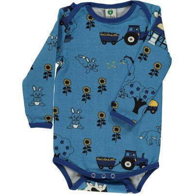 Småfolk Langærmet Body Landskab, Cendre Blue 74 - Børnetøj - Småfolk