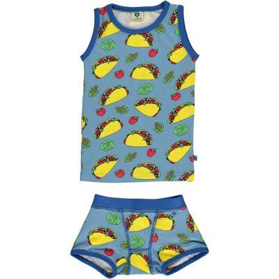 Småfolk Taco Undertøj, Sky Blue 3-4år - Børnetøj - Småfolk