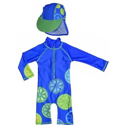 Swimpy UV-Dragt & Hat, Blue Lemon 86–92 - Børnetøj - Swimpy