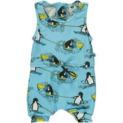 Småfolk Badedragt Surf Penguin, Air Blue 86 cm - Børnetøj - Småfolk