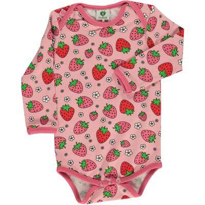Småfolk Jordbær Body, Silver Pink 80 - Børnetøj - Småfolk