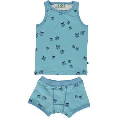 Småfolk Äpple Kalsong & Linne, Air Blue 2-3år - Børnetøj - Småfolk