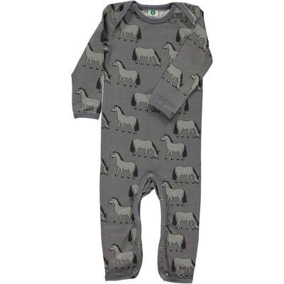 Småfolk Heldragt Hästar, Steel Grey 80 - Børnetøj - Småfolk