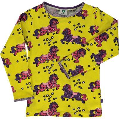 Småfolk Hest T-Shirt, Yellow, 7-8 År - Børnetøj - Småfolk