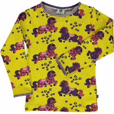 Småfolk Hest T-Shirt, Yellow, 4-5 År - Børnetøj - Småfolk