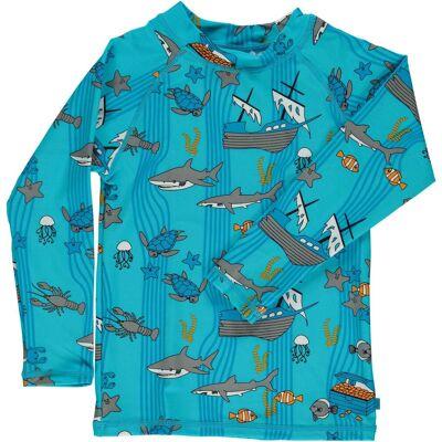 Småfolk Havet UV50+ Langærmet Trøje, Blue Atoll 4-5år - Børnetøj - Småfolk