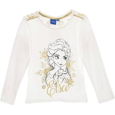 Disney Frozen Langærmet T-Shirt, Off White 6 - Børnetøj - Disney