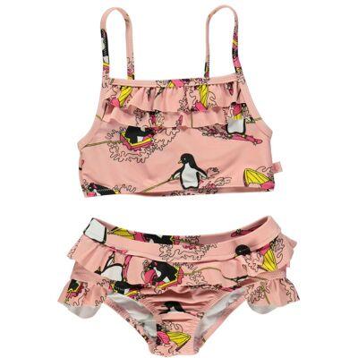Småfolk Bikini Surf Penguin, Silver Pink 1-2 År - Børnetøj - Småfolk