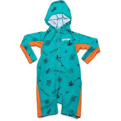 Rip Curl Kids Hooded UV-Dragt, Turquoise 1 år - Børnetøj - Rip Curl