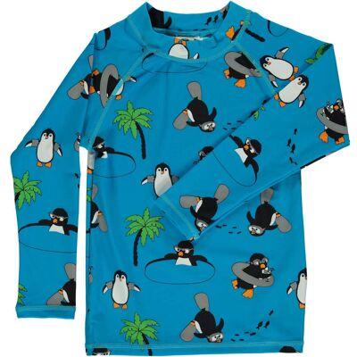 Småfolk Pingvin UV50+ Langærmet Trøje, Ocean Blue 1-2år - Børnetøj - Småfolk