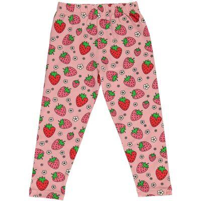Småfolk Jordbær Leggings, Silver Pink 1-2år - Børnetøj - Småfolk