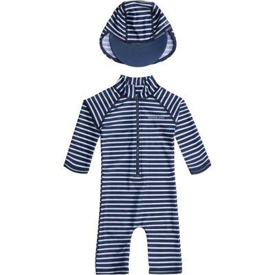 Nordbjørn Vrångö UV-Dragt & Hat, Navy Stripe 134-140 - Børnetøj - Nordbjørn