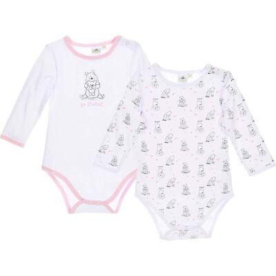 Disney Peter Plys 2-Pack Body, White/Pink 6mån - Børnetøj - Disney
