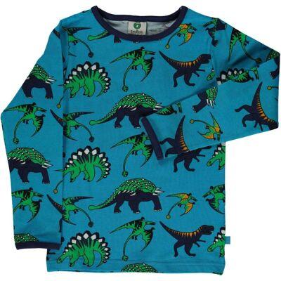 Småfolk Dinosaurus T-Shirt, Ocean Blue, 5-6 År - Børnetøj - Småfolk
